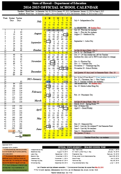 Hawaii Doe Official School Calendar 2014 15 Maile S District 21 Blog