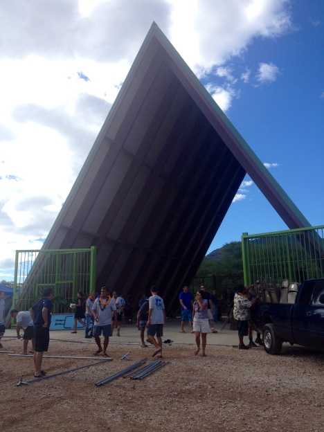 The halau is nearly 5 stories tall, which is thought to be the tallest halau on government land.