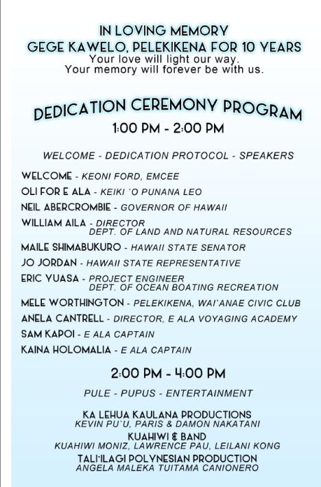 E Ala Dedication program, page 2.