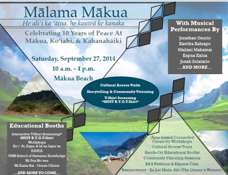 Click the image for the large event flyer. Ka`ahaaina Cafe and Kahumana Cafe will be on-hand as food vendors.