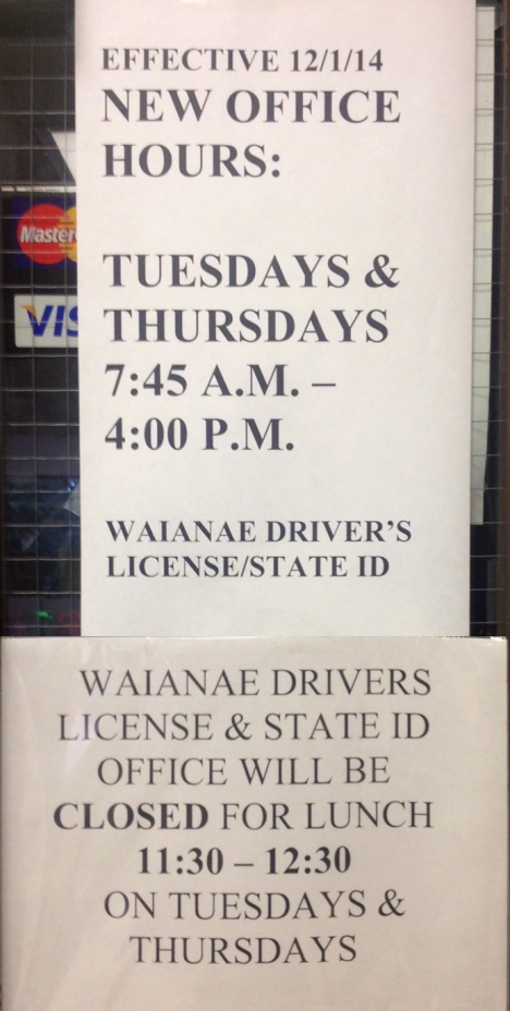 Waianae Driver's License & State ID office hours.