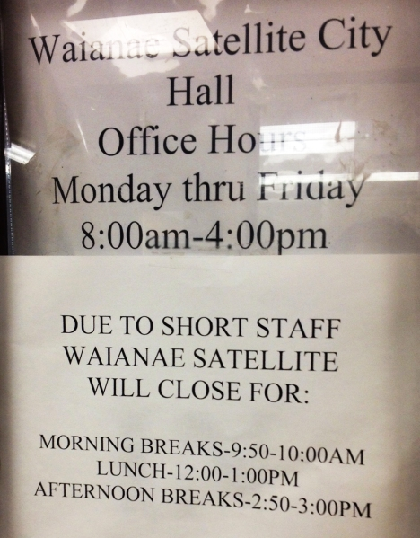 Waianae Satellite City Hall office hours.