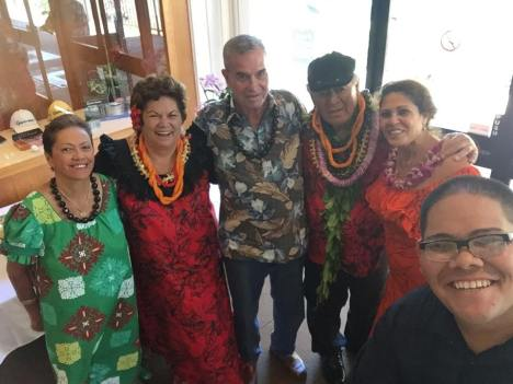 "The Makaha Hawaiian Civic Club honored Richard ""Buffalo"" & Momi Keaulana on 11/30/14. L-R: Emily Auwae, Momi Keaulana, David Auwae, Richard ""Buffalo"" Keaulana, Lu Faborito, and Pono Higa. Photo courtesy of Lu Faborito. Click to enlarge."