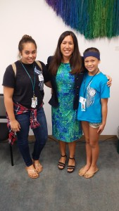 Junior Achievement students from Waianae Intermediate School shadowed Sen. Shimabukuro for a day. From left to right, Keala Judd, Sen. Shimabukuro, and Nanea Meyers.