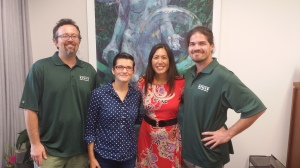 2/3/15 meeting with UH Graduate Student Organization.  L-R: Bret Polopolus-Meredith; Rebekah Carroll; Maile; and Jonathan Dial.  Jonathan Dial is a Mākaha resident. Click image to enlarge