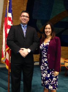 {Click on image to enlarge} Stacy Garcia (left) posing with Sen. Shimabukuro (right) prior to floor session.