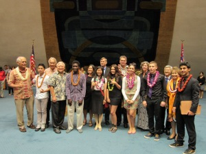 {Click to enlarge} YES program participants with elected officials.  Elected officials from left to right, Sen. Gabbard, Sen. Kahele, Sen. Nishihara, Sen. Riviere,  Sen. Thielen, Sen. Galuteria, Sen. Wakai, and Sen. Inouye.