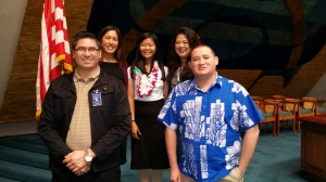 {Click to enlarge} From left to right, Stacy Garcia, Sen. Shimabukuro , Verencya Oktaviani, Colleen Teramae, and Lopaka Baptiste take a photon the Senate floor