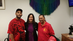 Sen. Shimabukuro poses with Rachel Kailianu-Conner and DeMont Conner. Rachael and DeMont are Nanakuli residents who showed up to the Capitol in opposition to the governor's nomination.
