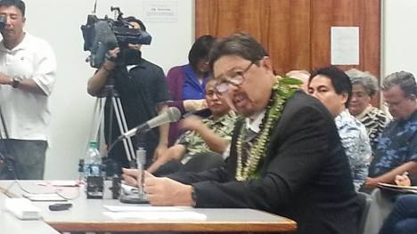 Carleton Ching at DLNR confirmation hearing. — at Hawaii State Capitol.