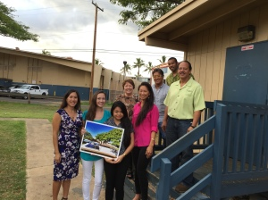 Senator Maile Shimabukuro; Allison Saunders (Jr. Punahou School/PR Manager); Eunica Escalante (Sr. Moanalua HS/Organization Liaison); Senator Michelle Kidani; Dana Akasaki (Greenpath Technologies, Marketing Director); Guy Akasaki (Greenpath Technologies, Chairman); Christopher Williams (Director of Business Development); Briand Achong (Greenpath Technologies, President) (Note: GreenPath Technologies, Inc. is an SBA certified Native Hawaiian Organization (NHO) Owned 8(a) Small Disadvantaged Business). Click image to enlarge