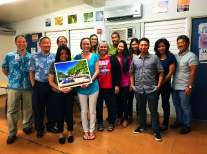 Brent Suyama, DOE, Communications Division; Duane Kashiwai, DOE Public Works Administator; Eunica Escalante, Sr. Moanalua High School; Briand Achong, Greenpath Technologies President; Allison Saunders (Jr. Punahou High School); Tiffany Quezada, Mentor/Lead for Fahrenheit_73 Student Initiative; Disa Hauge, Waianae High School Principal; Christopher Williams, Greenpath Technologies Business Development; Dana Akasaki, Greenpath Technologies Marketing; Candace Akasaki, Commercial Roofing & Waterproofing Hawaii Asst. Controller; Alex Wong, Waianae HS Teacher (P9); Niralyn Okuna, DOE-Waianae Complex ASA; Guy Akasaki, Greenpath Technologies Chairman Click image to enlarge