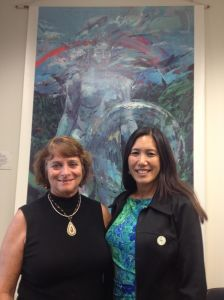 Maralyn Kurshals (left), a finalist for a UH Board of Regents open seat, and Wai'anae Coast resident, recently visited Maile at the Capitol.  For more information, visit: http://manoa.hawaii.edu/news/article.php?aId=6941.  Click image to enlarge