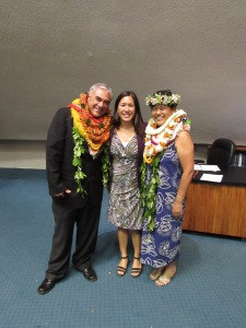 Senator Shimabukuro, Chair of the Senate Committee on Hawaiian Affairs, with DHHL Chair Jobie Masagatani and Deputy to the Chair William J. Aila Jr, following their confirmation vote. Click image to enlarge