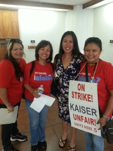 Maria Manosca (far right) visited Sen. Shimabukuro (2nd from right) at the Capitol along with other Unite Here Local 5 Union co-workers from Kaiser who were on strike. Click image to enlarge.