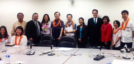 Former Representative Dennis Arakaki, Representative John Mizuno, Maile, Representative Linda Ichiyama and Representative Aaron Johansen with the Okinawan delegation. Click image to enlarge