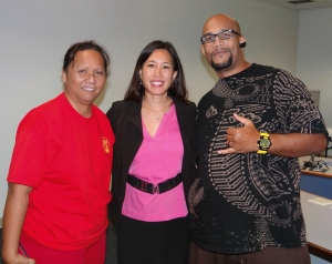 Rachel Kailianu-Conner (left) and DeMont Conner (right) posed with Sen. Shimabukuro (center) after testifying in support of various measures seeking to improve our criminal justice system. Click image to enlarge