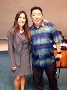 On March 23, 2015, Robin Kitsu of the Nānākuli Performing Arts Center came to the Capitol to congratulate HI actress Loretta Ables Sayre, who was honored by the Senate. L-R: Senator Shimabukuro and Robin Kitsu Click image to enlarge