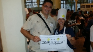 Stacy Garcia and Stacy Diplato (BIA) hold sign for 'Thank You Stacy' stew.
