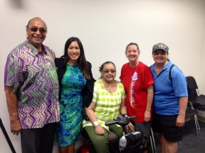 Some Wai`anae Coast residents attended the hearing to support DHHL Commissioner Michael Kahikina.  L-R: Kamaki Kanahele, Sen. Shimabukuro, Beatrice Uilani Hew Len, Pilialoha and Kehau Hew Len.