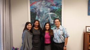 Sen. Shimabukuro recently met with representatives of the Hawaii Psychological Association.  L-R:  Julie Y. Takishima-Lacasa, Dr. Jill Oliveira-Gray, Sen. Shimabukuro, and Alex Santiago.  Mr. Santiago is a former House Representative and a Makaha resident.  For more information, visit: http://www.hawaiipsychology.org/