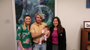 Maili residents recently visited the Capitol.  L-R: Chelsea, Jose, and Sophia Marques posed with Sen. Shimabukuro.