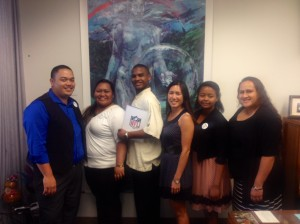 NFL-YET Nanakuli Boys & Girls Club brought their Youth of the Year finalists to meet legislators.  L-R: Kekoa Tupua, Ashley Guerrero, Torae Redd, Senator Shimabukuro, Kiana Redd and Lala Fernandez Click image to enlarge