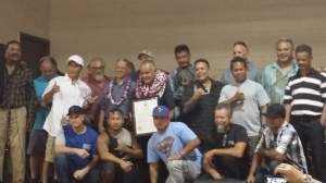 """Papa"" Fred takes a group photo with champions of the Waianae Boxing Club."