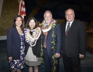 Sen. Shimabukuro (left), Phyllis Shimabukuro-Geiser, Scott Enright, and Sen. Ruderman (right).