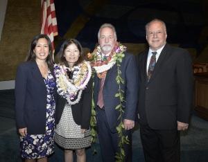 Sen. Shimabukuro (left), Phyllis Shimabukuro-Geiser, Scott Enright, and Sen. Ruderman (right).