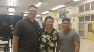 Stacy Garcia (left), Mr. Robin Kitsu; Director of NHIS RPC (center), Christian Kaeo; choreographer (right).
