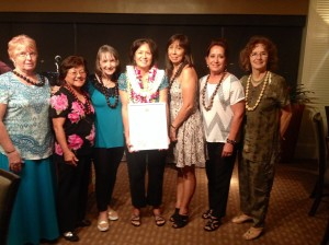 "Women of Waianae received the ""President's Award"" from Hawaii Women Lawyers at the Plaza Club on 4/17/15.  L-R: Sally Ford, Mae Chung, Sharon Sandell, Karen Young, Priscilla Maynard, Donna Costa, and Sue Carpenter."