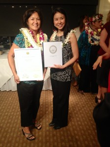 Women of Waianae President Karen Young (left) posed with Hawaii Women Lawyers President Tricia Nakamatsu.