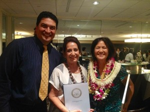 Judge Lanson Kupau congratulated Women of Waianae.  L-R: Judge Kupau, Donna Costa, and Karen Young.