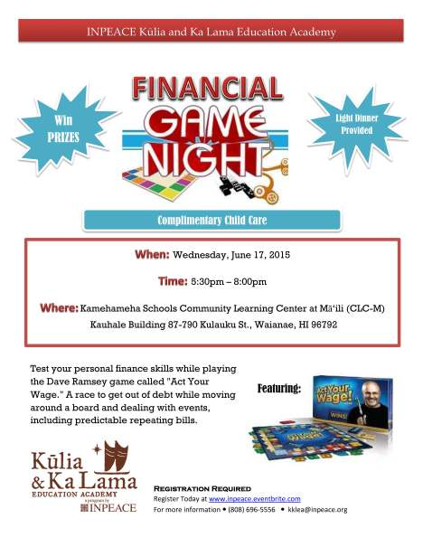 Financial Game Night Flyer