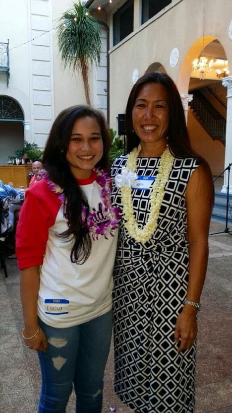 Sen. Shimabukuro posed with Waianae High student Elasha Lowry, who delivered a speech at a fundraiser for Nahoku Ala on 6/26/15.  Elasha talked about how grateful she was for the SAT preparation and life lessons she received from Nahoku Ala founder and instructor Cassandra Tokars.