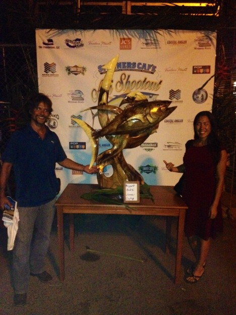 Photo caption:  Shayne Sakoda and Sen. Shimabukuro posed in front of the trophy at the inaugural Spinners Café Ahi Shootout, which was held on 6/20/15 at the Waianae Boat Harbor.