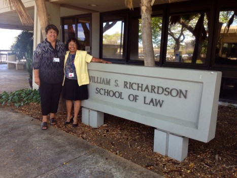 Photo caption:  Environmental advocates for the Wai'anae Coast, Johnnie-Mae Perry and Lucy Gay, attended the Hawaii Environmental Court Symposium on 6/26/15.