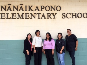 Nanaikapono Elementary's staff, from left: Counselors Leona Sewake, Maria Marbella and Kimberly Kameoka, and Vice Principals Vicky Nakasone and Jerri Keiki.  Click image to enlarge