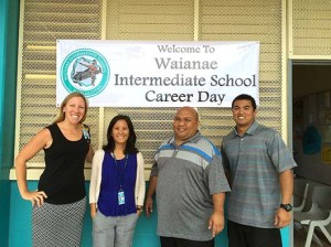 Waianae Intermediate's four counselors, from left: Kate Gehrke, Elaine Bowler, Dion Bacon and Ryson Mauricio.  Click image to enlarge