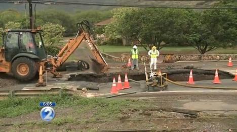 Nanakuli Water Main Break. Screen capture from KHON2 video 7/28/15.