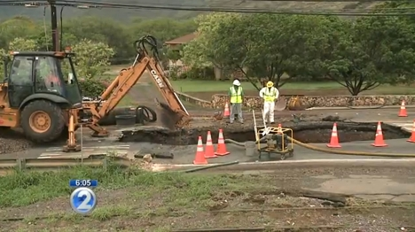 Nanakuli Water Main Break. Screen capture from KHON2 video 7/28/15.