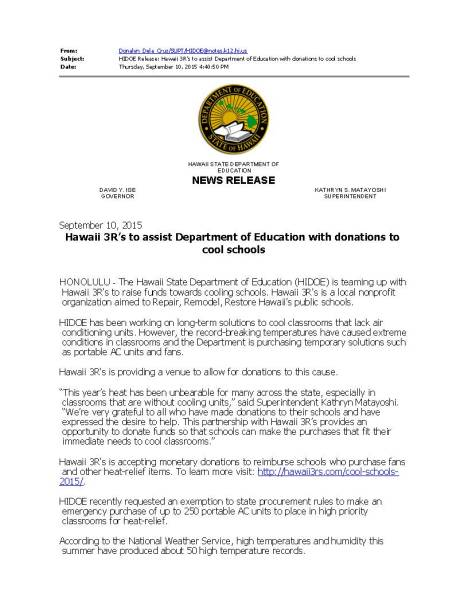 HIDOE Release_ Hawaii 3R's to assist Department of Education with donations to cool schools_Page_1