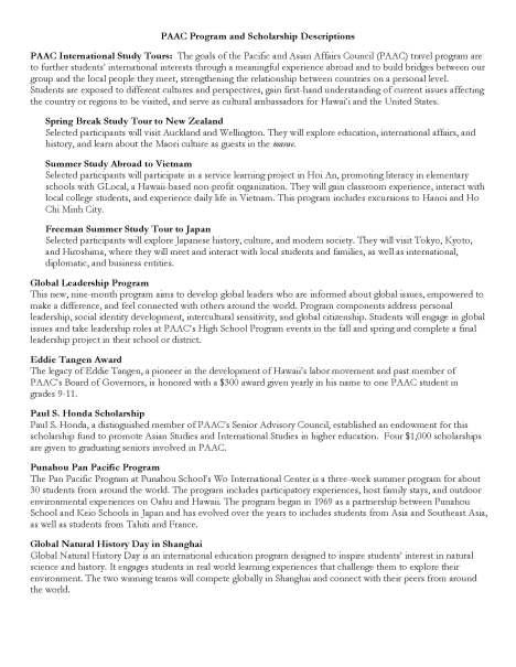 PAAC Scholarship Descriptions