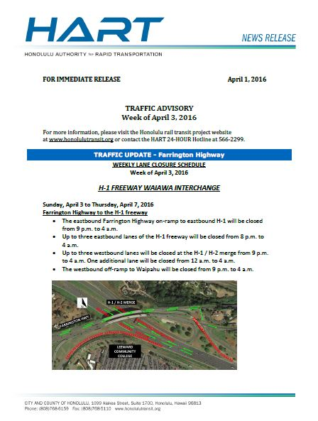 HART traffic advisory maps 04-01-2016