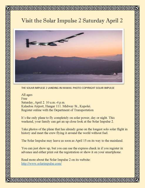 Visit the Solar Impulse 2 Saturday April 2