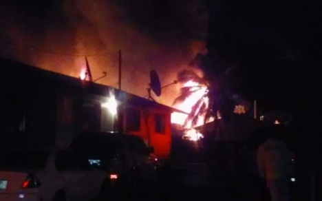 Photo courtesy of Russell J. Hogan. This photo posted on Twitter shows the fire on Lahaina Street in Makaha.