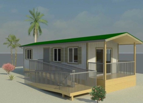 This is a rendering of a one-bedroom modular housing unit for the homeless that the city plans to erect on a Waianae property.