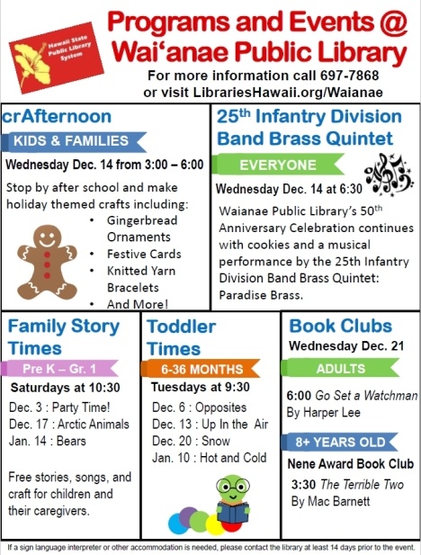 Waianae Public Library December 2016 Events